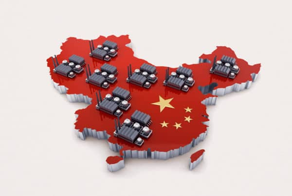 Graphic of factories in China on an embossed cutout of the country