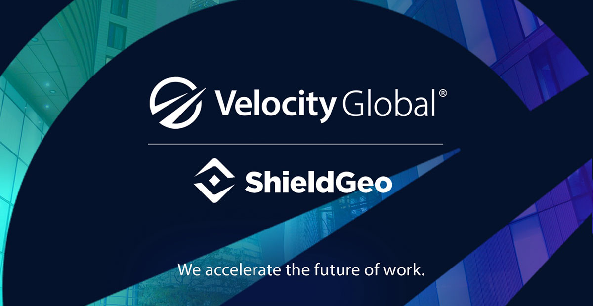 We accelerate the future of work. Velocity Global and Shield GEO logos